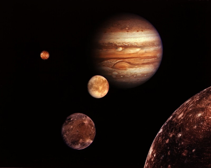 Jupiter and four largest moons