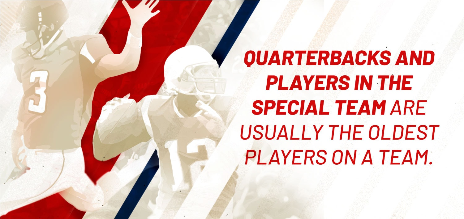 NFL quarterback and special team oldest players