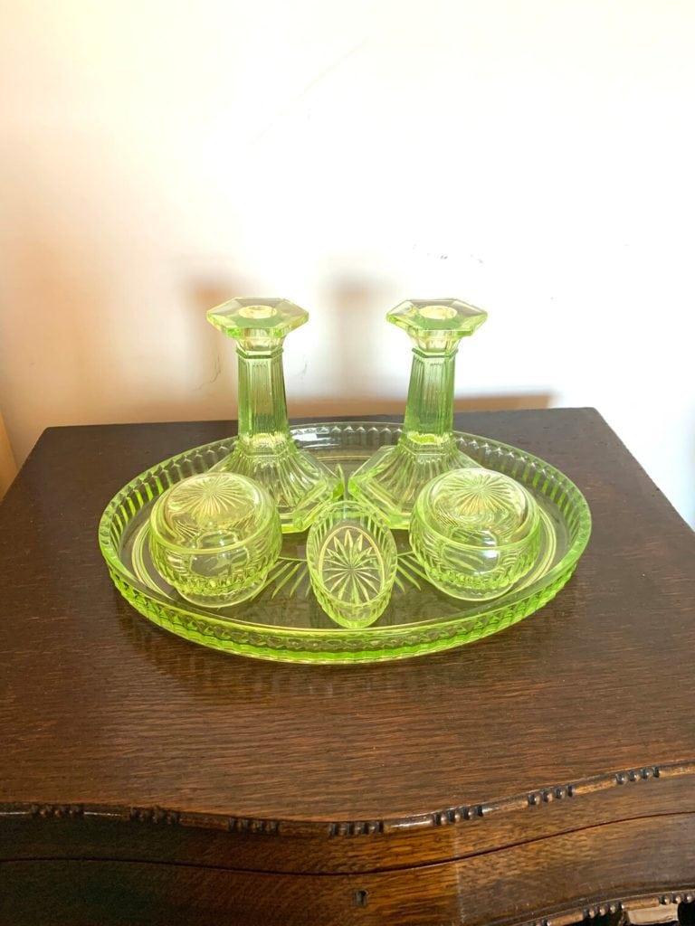 Antique Uranium Glass Dressing Table Vanity Set