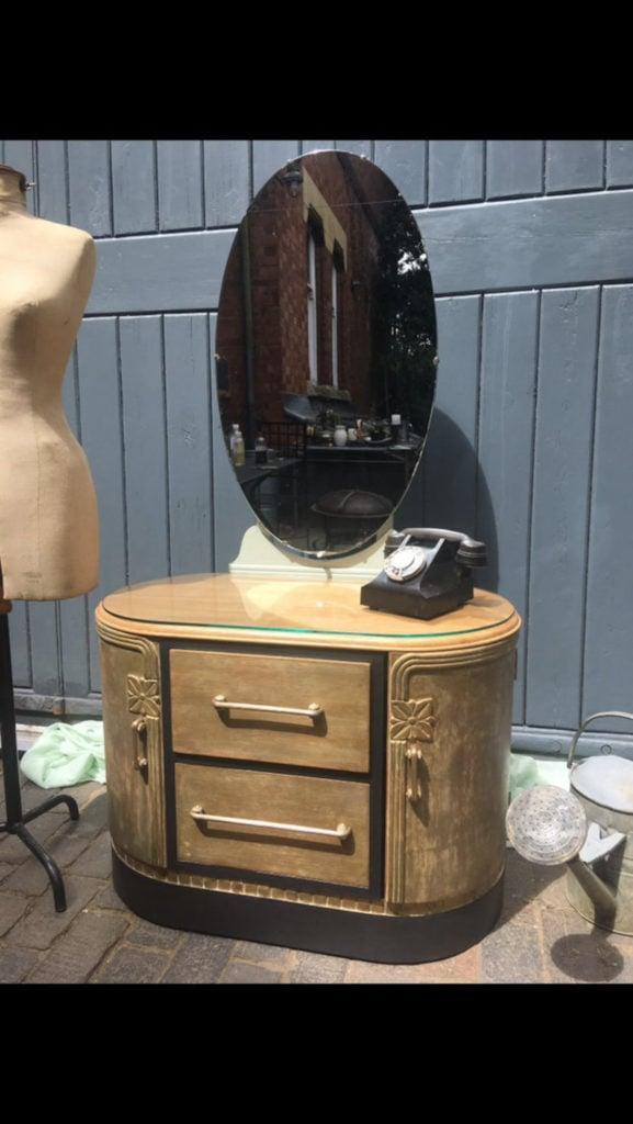 Art Deco 1920s C W Burnes Hand Painted Dressing Table