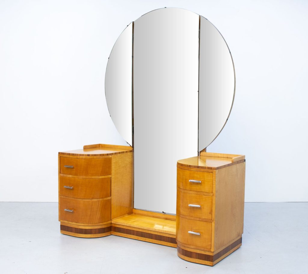English Art Deco Sycamore Dressing Table by Vesper