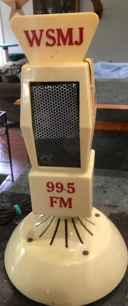 Vintage Rare 1960 Era WSMJ Radio Station 99.5 FM News Sports Music Tube Microphone on Bakelite Stand Radio