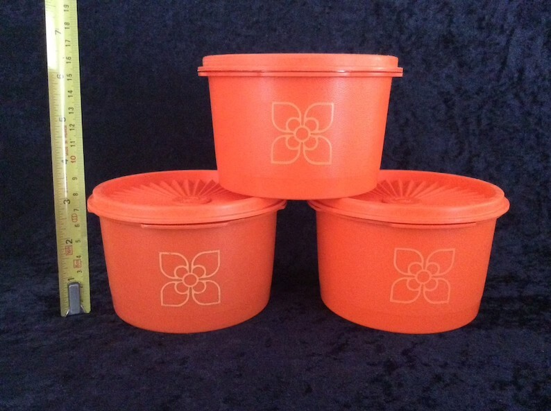 1970s Retro Tupperware Servalier Storage Containers with Lid