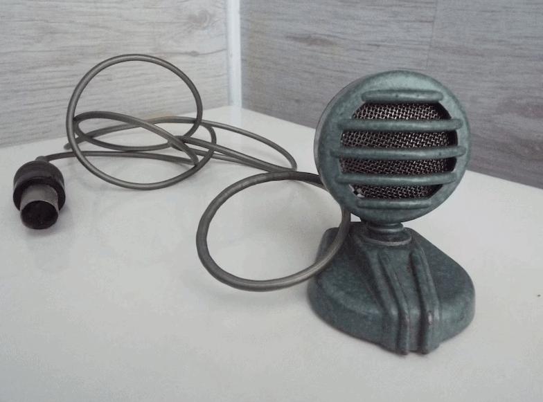 Vintage microphone, Old DDR radio microphone, Crystal microphone of East Germany