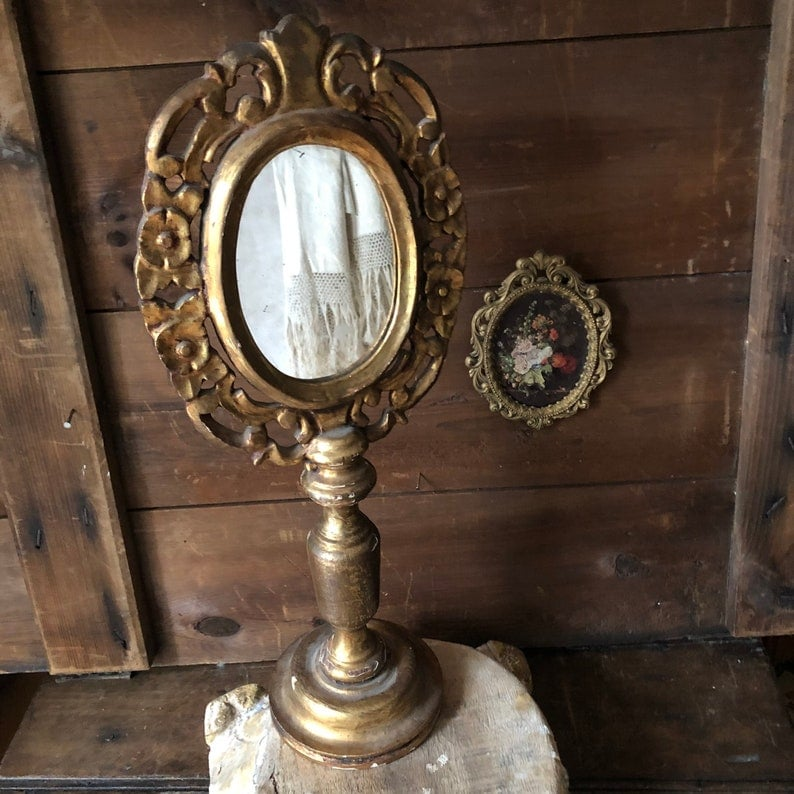 Gilded Wood Standing Mirror