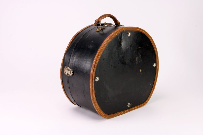Black Leather-Lined Hatbox
