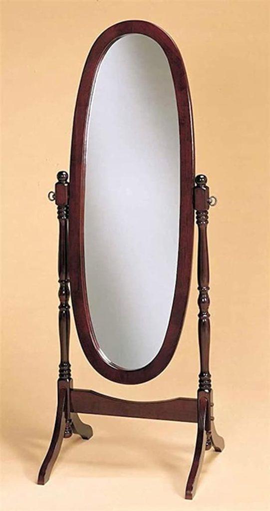Cherry-Finished Wood Swivel Mirror