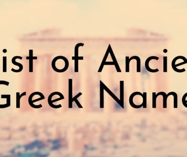 List of Ancient Greek Names