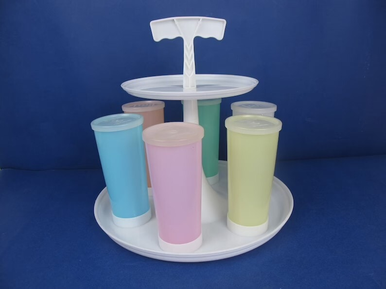Tupperware Two-tier Carousel Caddy and Six Tall Pastel Coloured Beakers