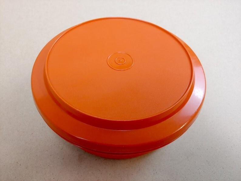 Vintage Orange Tupperware Seal N Serve Bowl With Serving Plate