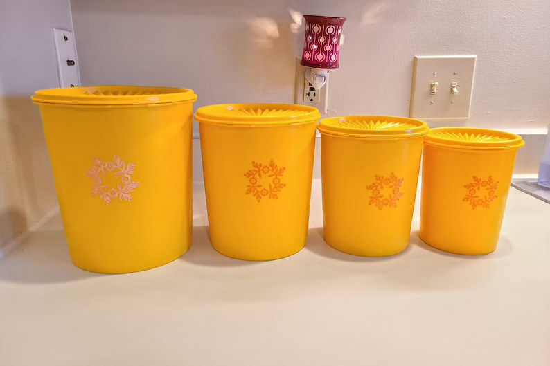 Vintage Tupperware Yellow Orange Canister Set With Maize Pattern