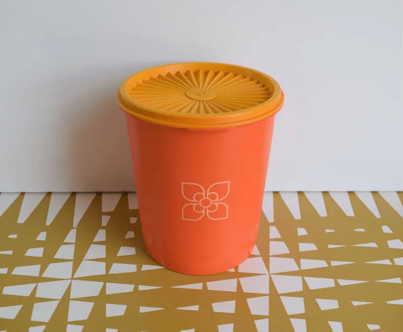 Vintage Tupperware Yellow & Orange Fan Lid Storage container
