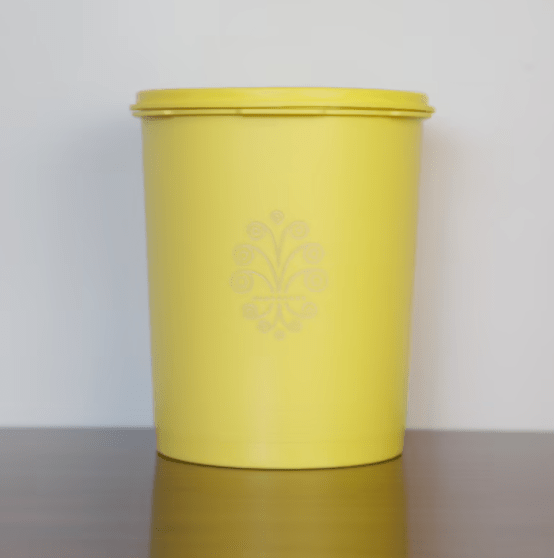 Vintage Tupperware Yellow Plastic Canister with Lid