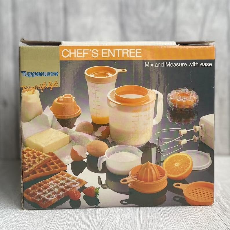 Vintage retro Orange chef's Tupperware set still in original box