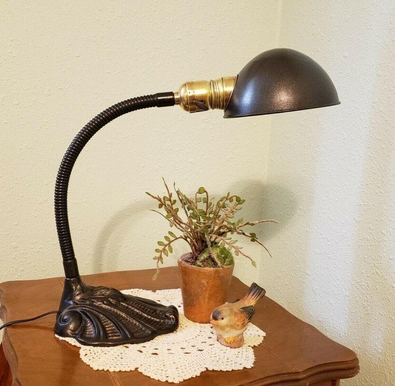 1930's Vintage Gooseneck Desk or Table Lamp with Ornate Base