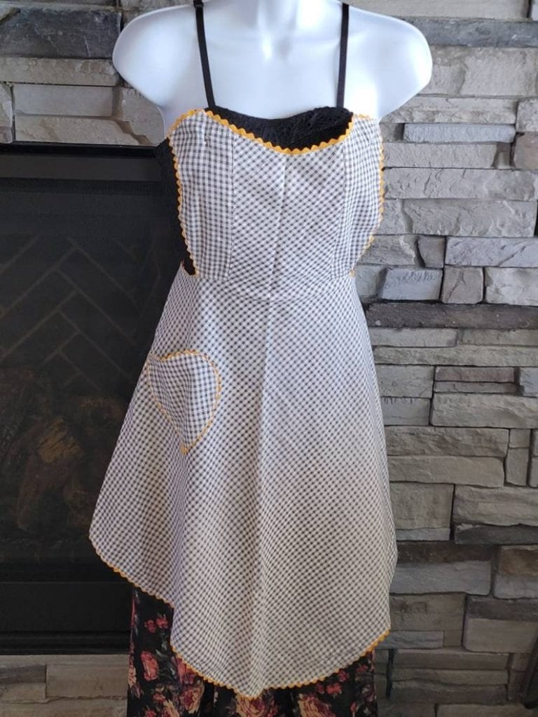 1950s apron, vintage, black and white with yellow trim