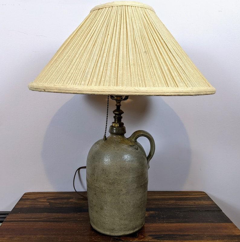 Antique Stoneware Whiskey Jug Table Lamp