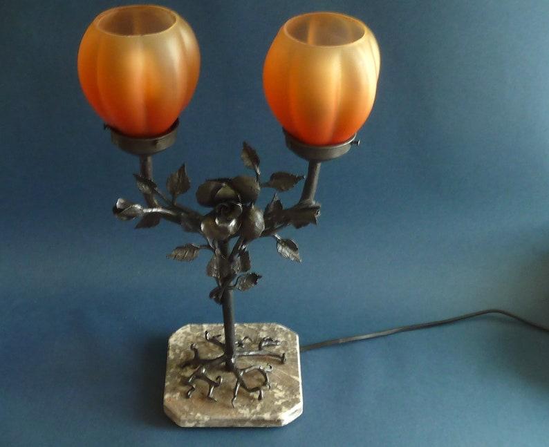 Art Deco Wrought Iron Double Table Lamp L.Van Boeckel