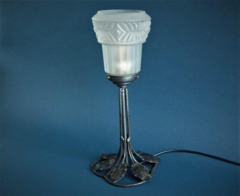Art deco wrought iron table lamp MARCEL JOBERT