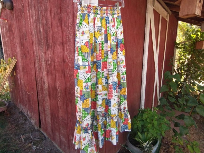 Full-Length Faux Patchwork Half Apron with Elasticized Smocked Waist