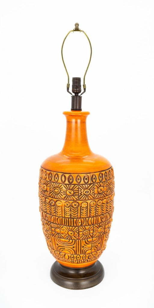 Mid Century Orange Pottery Table Lamp