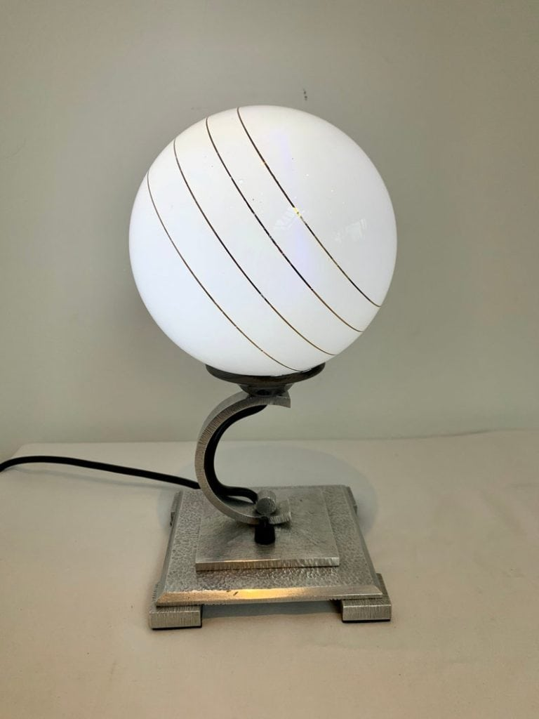 Original vintage Art Deco 1920s Silver Globe Lamp