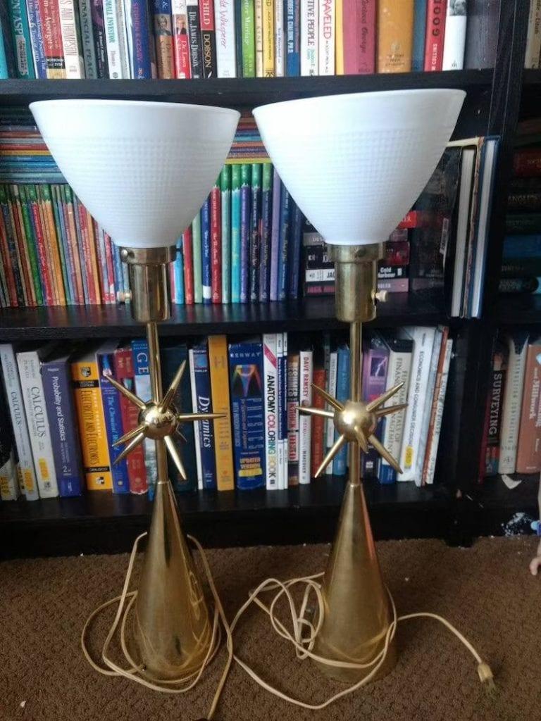 Pair (2) Vintage 1960s MCM Laurel SPUTNIK Lamps Brass