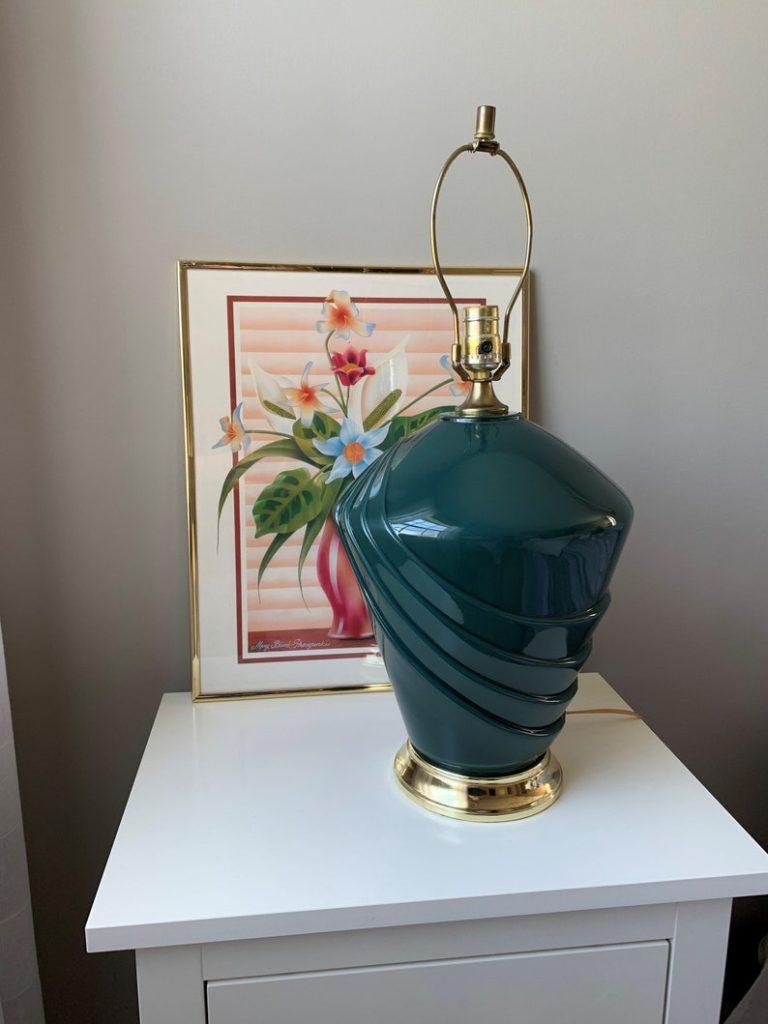 Vintage 1980's Table Lamp Green Art Deco Revival