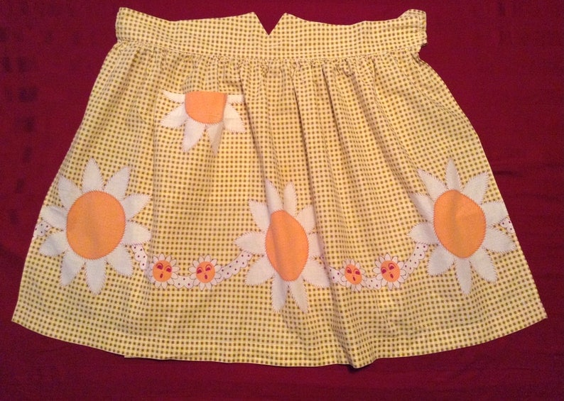 Vintage Apron, Yellow, and Brown Checked