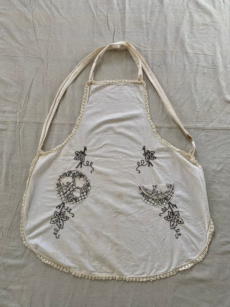 Vintage Black and White Embroidered Apron