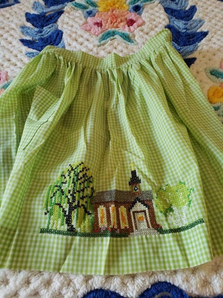 Vintage Green Gingham Apron
