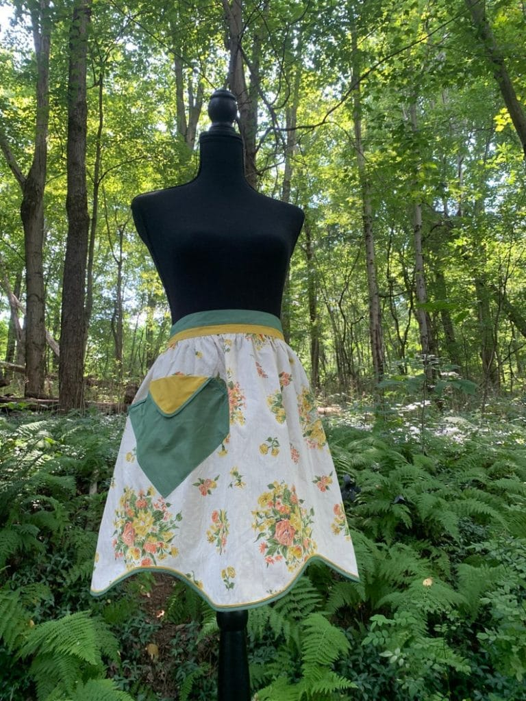 Vintage Green and Yellow Floral Half Apron With Pocket
