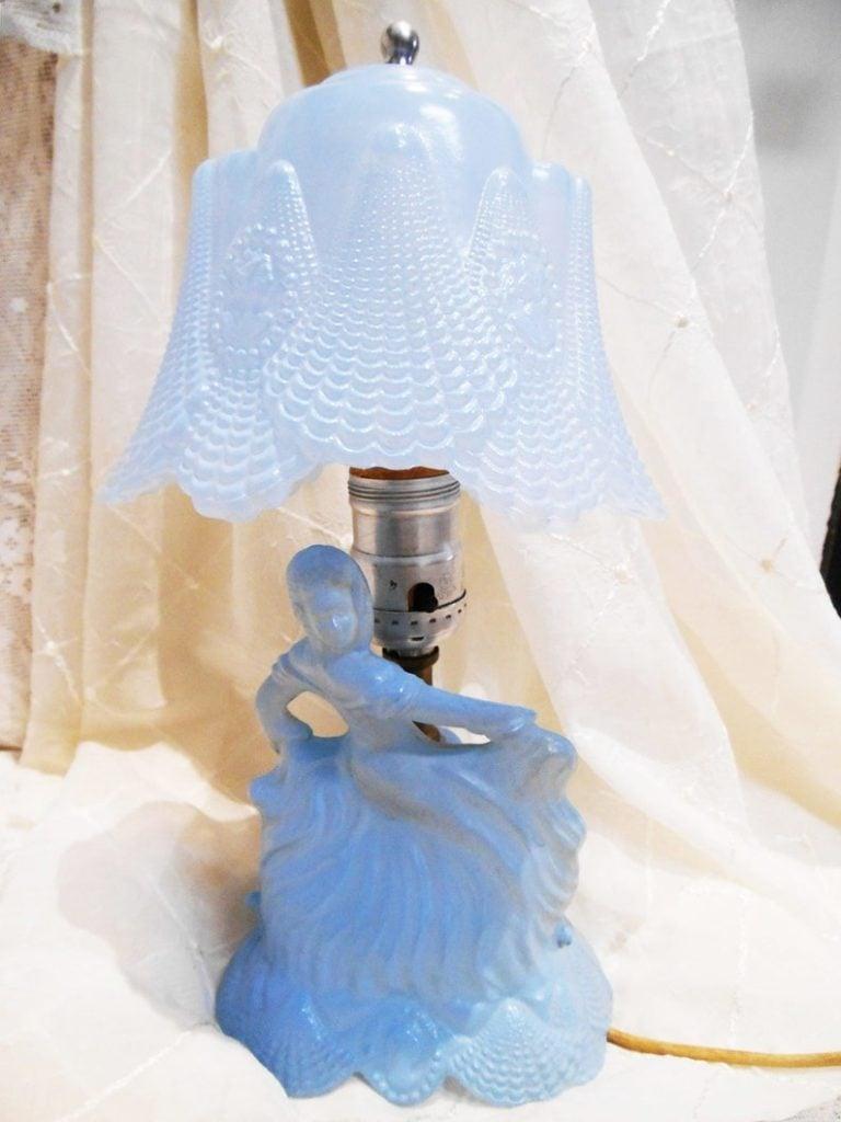 Vintage Hollywood Regency, Blue Satin Glass Boudoir Lamp