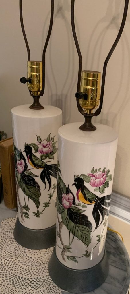Vintage Pair Of Signed Ceramic Lamps