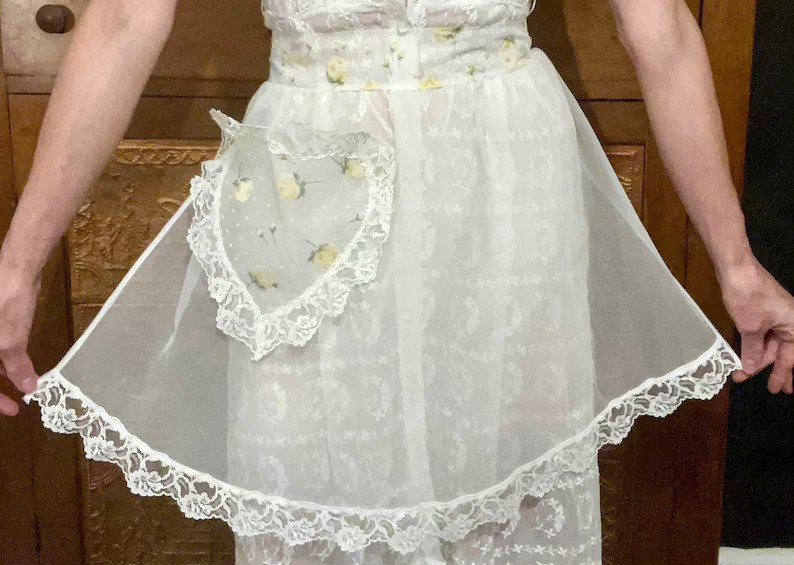 Vintage Sheer Organza and Lace Apron, with Heart-shaped Pocket