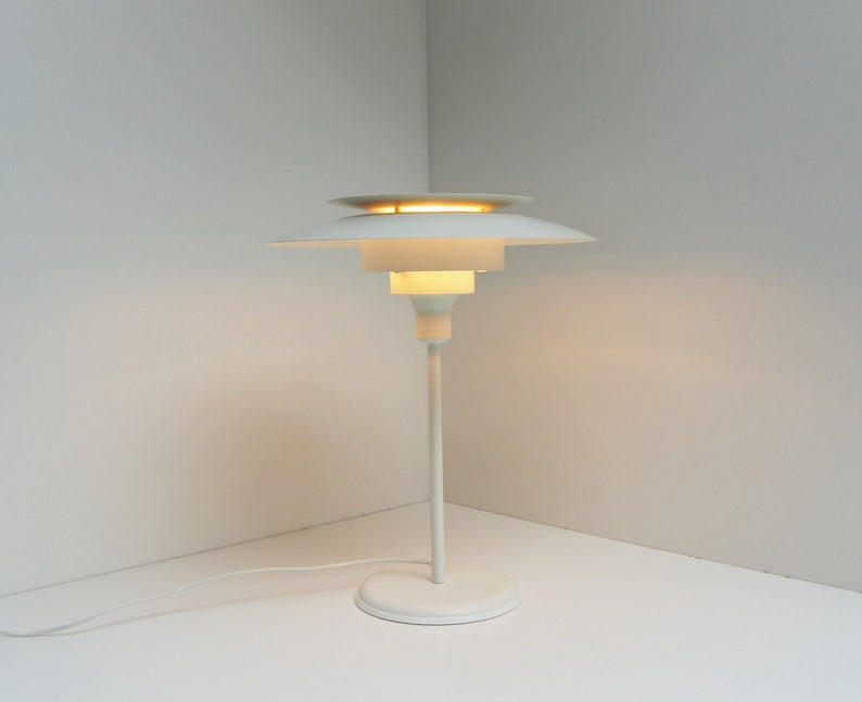 White table lamp made in metal - Danish design from company Lyskær, 1970s